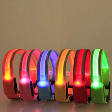 8 Color S M L XL Size Glow LED Dog Pet Cat Flashing Light Up Nylon Collar Night Safety Collars Supplies Products AA