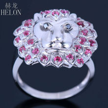 HELON 3D Lion Face 0.8ct Genuine Rubies & Black Diamonds Jewelry Ring Solid 10k White Gold Engagement Wedding Party Fine Ring