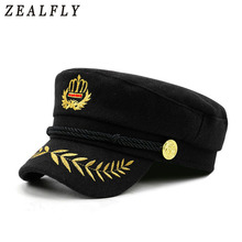 New Embroidered Crown Women Navy Hat Fashion Black Men Flat Top Hat Woolen Casual Retro Visor Spring Autumn Design Cap(China)