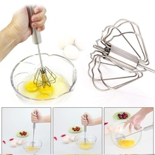 Practical Stainless Steel Semi-automatic Manual Press Whisk Rotary Egg Beater Mixer Kitchen Cooking Tool