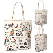 Hello Kitty My Melody Little Twin Stars Girls Woman Canvas Zipper Shoulder Bags Handbags Shopping Bag For Children Gifts(China)