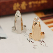2017 New Hot Fashion Fine Jewelry Gold Color Personality Rhinestone Simply Wedding Fingernail Rings For Women Ladies' gifts R-43