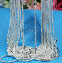 "Wholesale 10pcs/lot ,Fashion Silver Necklace Chains,1mm 925 Jewelry Silver Plated Snake Chain Necklace 16""-30"",Pick Length(China)"