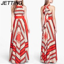 Buy 2018 Summer Zebra Stripes Halter Chiffon Long Dress Women's Striped Chiffon Dresses Femme Casual Clothing Women Sexy Slim Dress