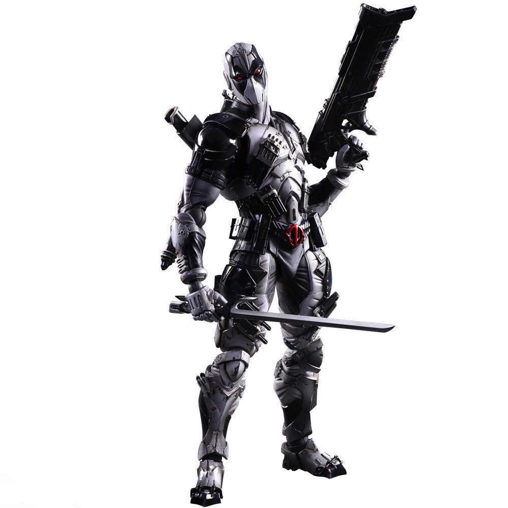 Play Arts Kai Deadpool Figure X Men X-MEN Deadpool Grey Edition Wade Winston Wilson Play Art KAI PVC Action Figure 26cm Doll Toy<br>