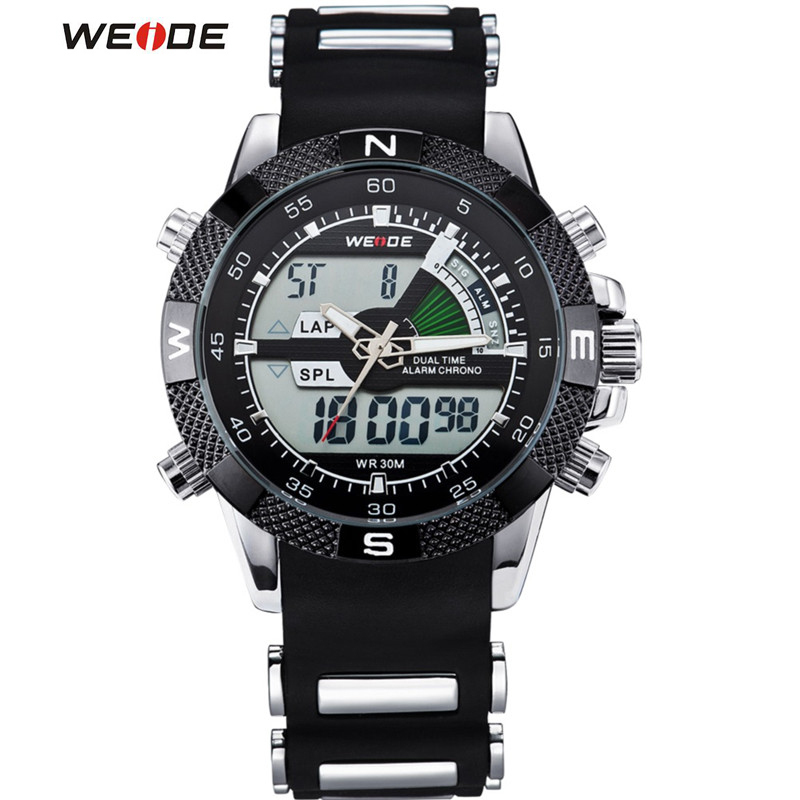 WEIDE Watches Mens Casual Watch Multifunction LED Watches Dual Time Zone With Alarm Sports Waterproof Quartz Wristwatches<br><br>Aliexpress