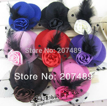 8cm hair clips Lady girls Kids Felt Mini Top Hat Fascinator colorful rose plume Hair Accessories decor whcn+(China)