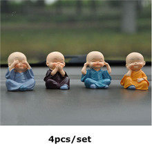Creative four little monk Buddha security peace car ornaments cute doll interior decoration ornaments(China)