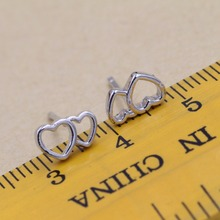 925 sterling silver earrings An arrow through a heart contracted female silver earrings Double heart-shaped earrings