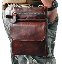 Wax Pack Waist LeatherHook ShoulderBag Fanny Belt Bag Shoulder Oil Messenger Men(China)