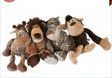 a set small cute Plush tiger, lion, giraffe, monkey toys Stuffed jungle animal dolls gift about 25cm