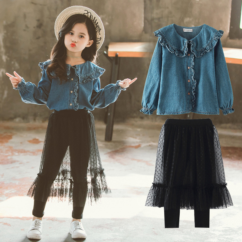 long sleeve Denim shirt+mesh pant skirt set 2019 style summer kid girls clothes children outfits boutique clothing jeans bow