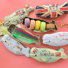 1x Novelty Cute fish shape iron box gift Tea candy storage seal box wedding favor tin box Jewelry Pill Cases portable container