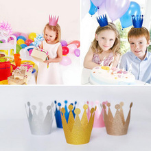 6pcs Glitter Powder Coating Birthday Cap Creative Princess Prince Imperial Crown Hat Kids Adults Birthday Party Supplies 6zcx431