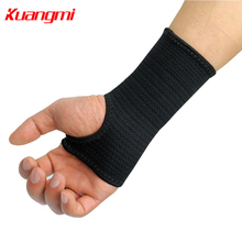 Kuangmi 1PC Elastic Sports Wristband Wrist Brace Support Compression Sleeve Palm Protector CrossFit Fitness Gloves Carpal Tunnel(China)