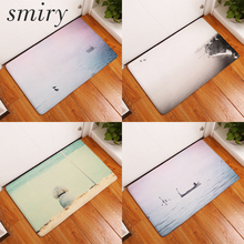 Smiry door mat welcome home commercial door mats cozy lake scenery printing carpets decorative stair mats waterproof bedroom rug