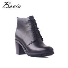 Bacia 패션 Boots Women Genuine Leather (High) 저 (힐 Ankle Boots Zipper Short 봉 제 Winter Warm 풀 결 가죽 Shoes SB105(China)