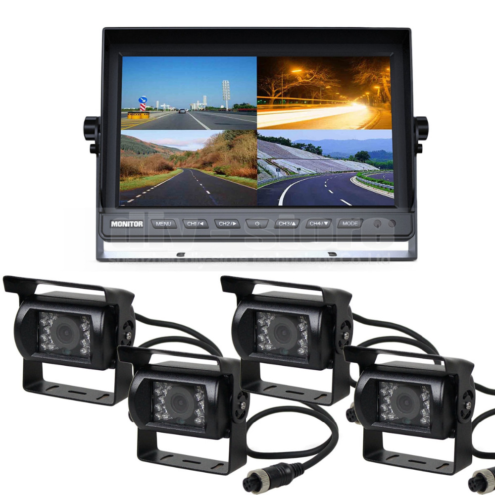 DIYSECUR 1080 x 600 4-PIN 10Inch Split QUAD Monitor + 4 x CCD IR Night Vision Rear View Camera Waterproof Monitoring System(China)