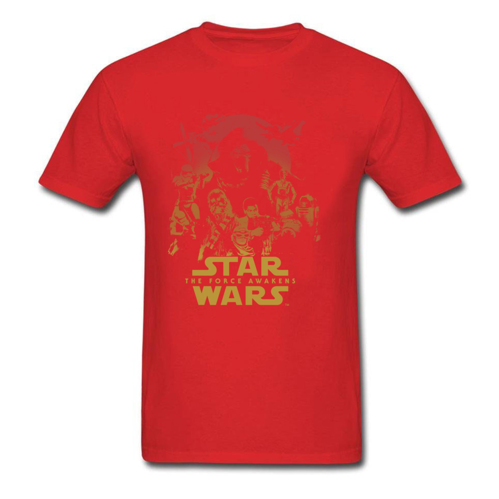 Force Awakens Poster Thanksgiving Day Pure Coon Crew Neck Tops Shirts Fashionable Tops Shirt New Coming T-shirts Force Awakens Poster red