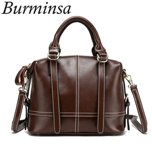 Burminsa Brand Boston Genuine Leather Bags Vintage Oil Wax Leather Handbags Ladies Tote Shoulder Bags Women Messenger Bags 2017(China)