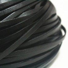 5mm Black Real Flat Leather Cord, 15feet Genuine Flat Leather Strip, Belt Bracelet Necklace Leather Cord Free Shipping