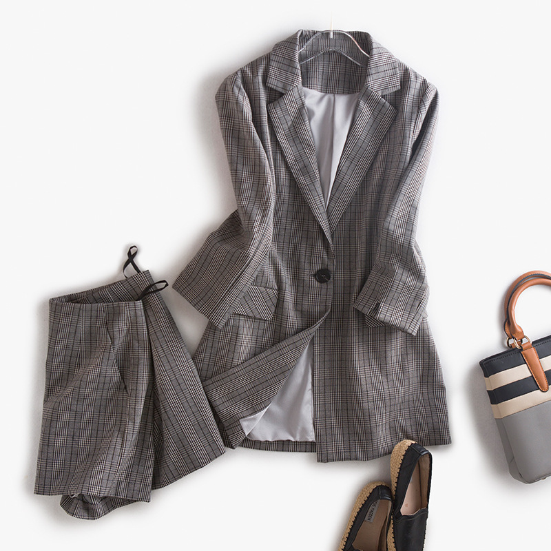 British Style Women's Slim Plaid Blazer Jacket and Shorts Suit Brand Design 2017 Fall Office Ladies Elegant Two Pieces Work Sets(China)