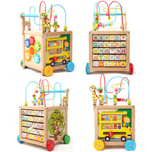 Baby Toys Wooden around Bead Maze Letter recognition Cube Walker Push Pull Educational Toys High Quality Child Birthday Gift