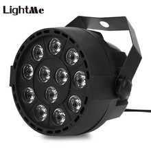 12 LEDs RGBW Color Mixing DMX512 Disco Light 8CH Voice Activated DJ Light Stage Projector Led Flat Holiday Party Lights