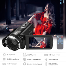 1080P Full HD Digital Video Camera Camcorder 16*Digital Zoom with Digital Rotation LCD Touch Screen 24M Support Face Detection