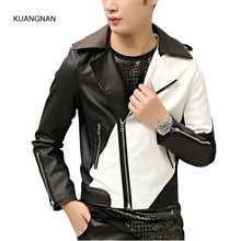 Men Fashion White Black Splice Leather Jacket Male Zipper Motorcycle Jacket Outwear Men Casual Slim Fit PU Coat W46(China)