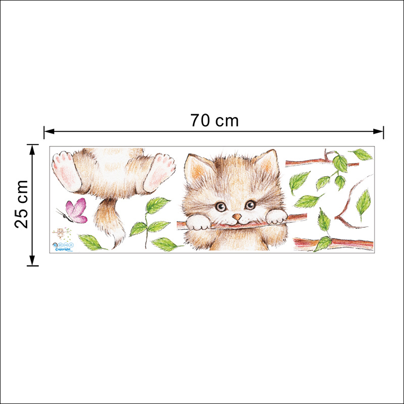 Lovely Kitten On Tree Branch Wall Stickers Lovely Kitten On Tree Branch Wall Stickers HTB14yrGXH1YBuNjSszeq6yblFXaq