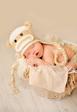 free shipping, baby Earflap Hat 100% cotton baby monkey hat , crochet monkey beanie , character hats , monkey photo prop