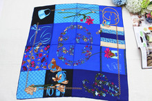 100% silk scarf,2015 new fashion  women square scarf, Material:twill silk size:88x88,Thickness14mm, Navy blue