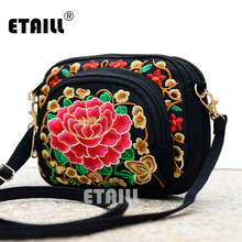 Boho Ethnic Embroidery Bag Hmong Handmade Embroidered Canvas Shoulder Messenger Bags Small Brand Crossbody Bags Sac a Dos Femme(China)