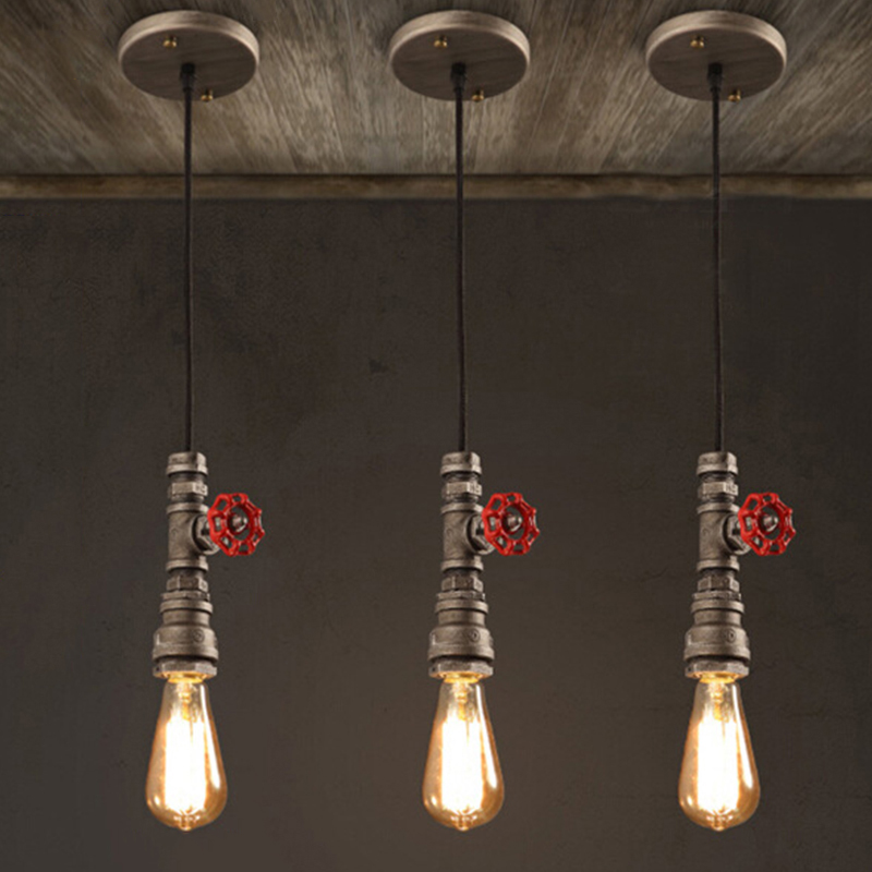 Loft industrial wind Iron water Pipe steam punk Vintage pendant lamp cord E27 pendant lamp for personalized bar restaurant cafe<br>