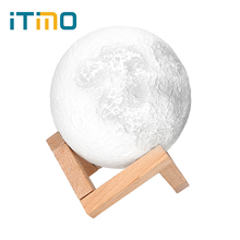 ITimo Moonlight Table Desk Lamp Magical Rechargeable 3D Moon Night Light USB Indoor Lighting Birthday  Valentines Gift