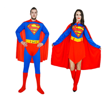 Adult Superman Costumes Red Blue Lycra Spandex Full Body Superhero Zentai Suits Super Hero Cape For Woman And Men Cosplay Outfit(China)