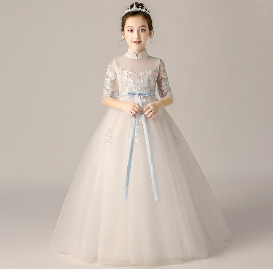 Fancy Tulle Ball Gown Christmas Flower Appliques Little Bridesmaid Wedding Dress Custom Made Vetsidos de Noiva Fantastic HW2256