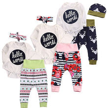 3pcs Cute Newborn Girl Boy Hello World Long Sleeve Romper Floral Deer Pants Baby Outfits Set