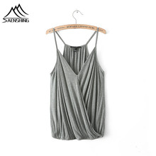 2017 Summer New spaghetti strap Tank Tops Women Sleeveless Round Neck Loose T Shirt Ladies Vest Singlets fitted crop tops(China)