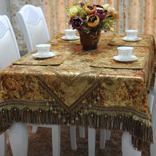 Top Quality Gold Blocking Printed Luxury Table Cloth Custom Make / Florals Bronze Imitated Silk Tablecloth as Christmas Gift