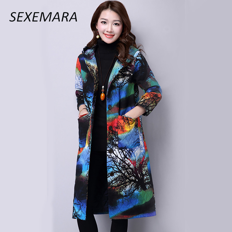 Autumn and Winter 2017 New Vintage Printed Ethnic Wind Jacket Thickening Long Warm Coat With Hood Plus Size Outerwear Womens Îäåæäà è àêñåññóàðû<br><br>
