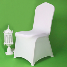 100 Pcs Cheap Universal Wedding White Chair Covers for Reataurant Banquet Hotel Dining Party Lycra Polyester Spandex Chair Cover(China)