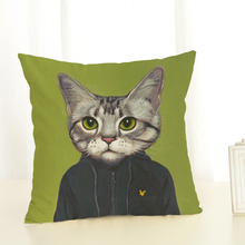 45x45cm 2017 New Cat Man Series Printed Linen Cotton Square Home Decor Houseware Throw Pillow Cushion Cojines Almohadas(China)