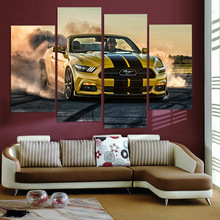 HD Printed Hennessey Ford Mustang Car Picture 4Pcs Painting Wall Art Room Decor Print Poster Canvas Art for Living Room XA376B