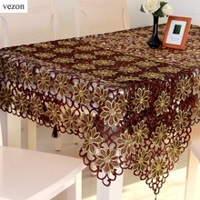 vezon New Hot Sale Christmas Embroidery Tablecloth Coffee Color Full Embroidered Xmas Towel Table Linen Cloth Cover Overlays(China)