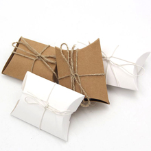 20PCS/lot Paper Pillow Gift Box Kraft Paper Candy Boxes PVC Paper Gift Box Bag For Wedding Party Supply With Burlap Twine Chic