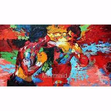 "Hand painted Leroy Neiman""Rocky vs Apollo""Palette knife Abstract Artists Paintings PAINTING on Canvas Movie Poster Boxing Sports"