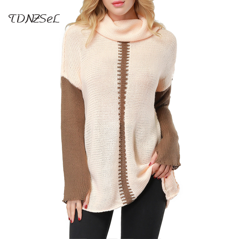 Autumn Winter Turtleneck Long Sleeve Knitted Sweater Dress Women Casual Patchwork Loose Short Dresses Pink Gray Warm Plus SizeÎäåæäà è àêñåññóàðû<br><br>