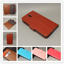 Crazy horse Flip leather case Credit Card Slots with 2 Card Holder and pouch slot for HTC Desire 526 D526 526G